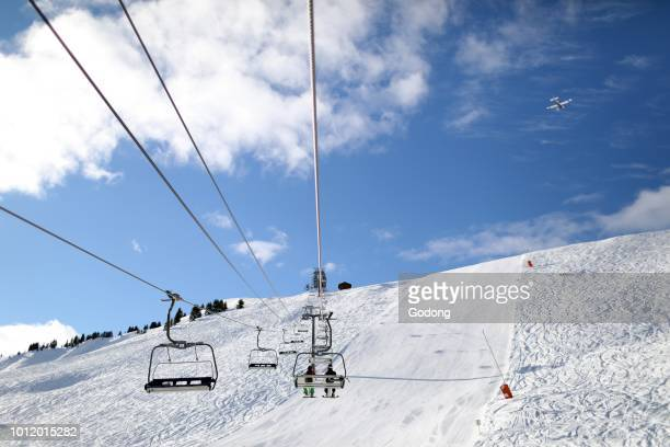 French Alps MontBlanc massif Ski slope and chairlifts SaintGervais France