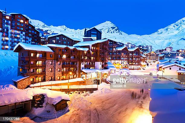 french alps, val thorens - trois vallees stock pictures, royalty-free photos & images