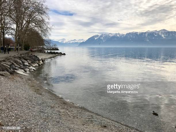 french alps with snow reflected in the tranquil waters of lake geneva - ローザンヌ ストックフォトと画像