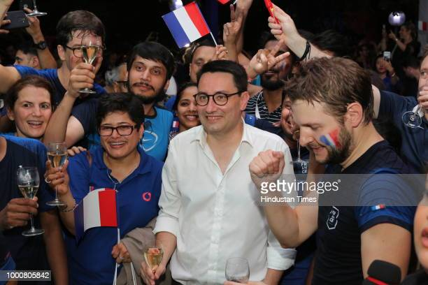 French Ambassador Alexandre Ziegler with fans during screening of Fifa World Cup final between France and Croatia at French Embassy on July 15 2018...