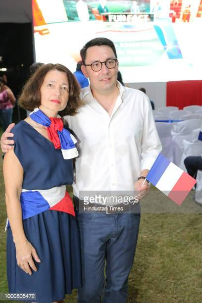 French Ambassador Alexandre Ziegler with wife Veronique during screening of Fifa World Cup final between France and Croatia at French Embassy on July...