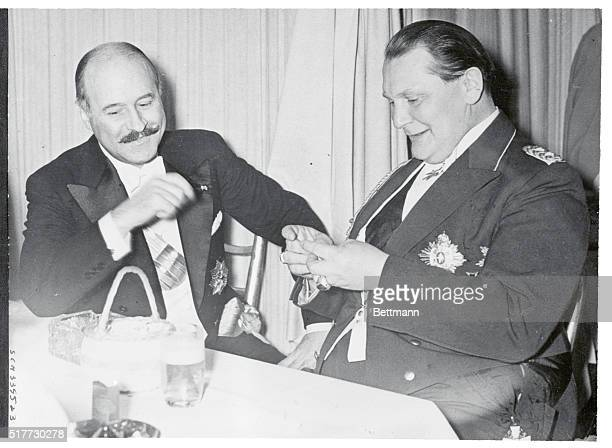 French Ambassador and Minister Goering Laugh Francois Poncet French Ambassador to Germany and German Air Minister Hermann Goering were in cheerful...