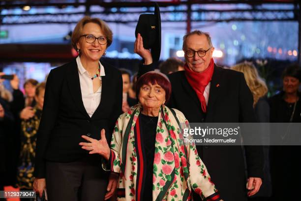 French ambassador AnneMarie Descotes director Agnes Varda and festival director Dieter Kosslick arrive for the 'Varda By Agnes' premiere during the...