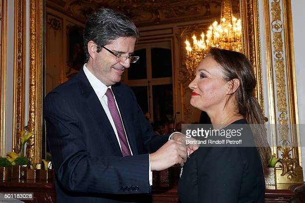 French Ambasssador at ONU Francois Delattre and Laurence Haim at Laurence Haim Is Honoured With The Insignes De Chevalier De La Legion D'Honneur at...