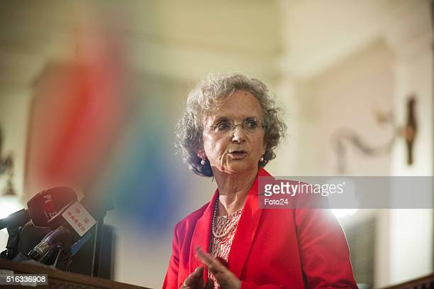 French Ambassador Elisabeth Barbier on the podium during the handing over of the digital audio recordings from the Rivonia Trial on March 17 2016 in...