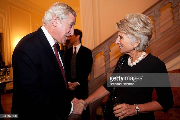 French Ambassador Pierre Vimont greets Rep Jane Harman at a reception hosted by Dior and Ambassador Vimont in honor of the Congressional French...