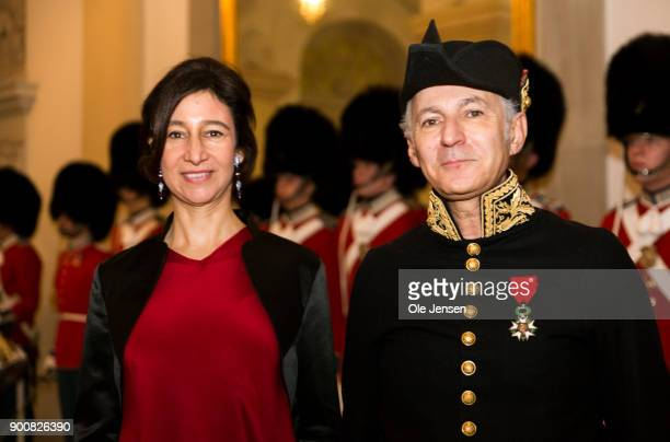 French Ambassador to Denmark Francois Zimeray and wife arrive at the Traditional New Year's Banquet for foreign diplomats hosted by Queen Margrethe...