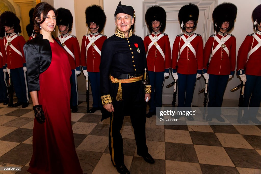 French Ambassador to Denmark Francois Zimeray and wife arrive at the Traditional New Year's Banquet for foreign diplomats hosted by Queen Margrethe of Denmark at Christiansborg Palace on January 3, 2018 in Copenhagen, Denmark.