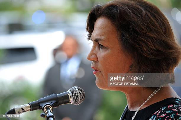French Ambassador to Haiti Elisabeth Beton Delègue speaks during a memorial service in tribute to the victims of the terror attacks in Paris November...