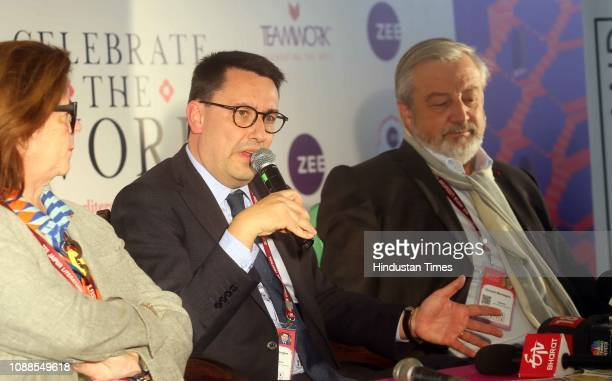 French Ambassador to India Alexandre Ziegler addresses a press conference at ZEE Jaipur Literature Festival 2019 at Diggi Palace on January 25 2019...
