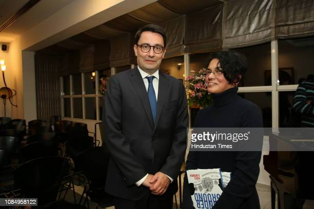 French Ambassador To India Alexandre Ziegler and Karthika Nair at the launch of Over and Under Ground in Mumbai Paris an Indofrench illustrated book...
