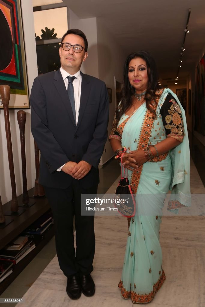 French Ambassador to India, Alexandre Ziegler, with Businesswoman Priti Paul during the launch of businesswoman Priti Paul's debut book, that aims at teaching alphabet in an Indian way, at French Embassy, on August 18, 2017 in New Delhi, India. The canvases, hand-painted by Bollywood artists, are part of the book. The launch was followed by a cultural dance performance.