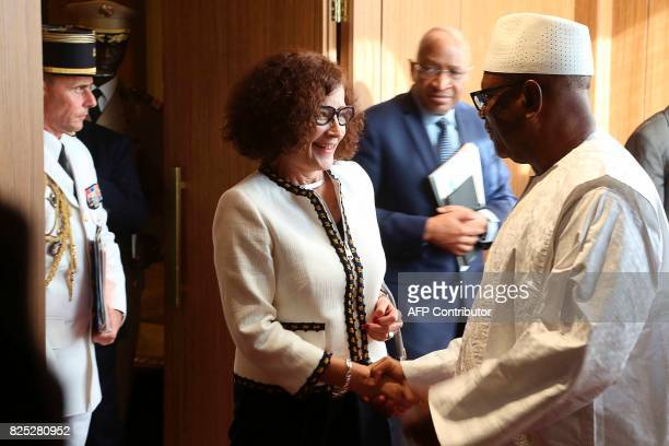 French ambassador to Mali Evelyne Decorps is welcomed by Malian president Ibrahim Boubacar Keita upon her arrival in Bamako on August 1 as part of a...