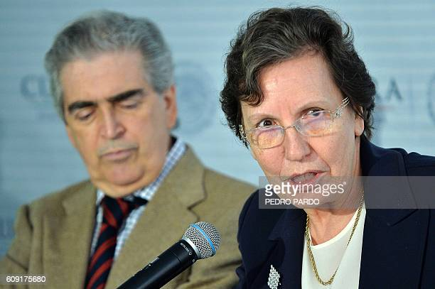 French ambassador to Mexico Maryse Bossiere speaks during a press conference accompanied by the Secretary of Culture of Mexico Rafael Tovar y de...
