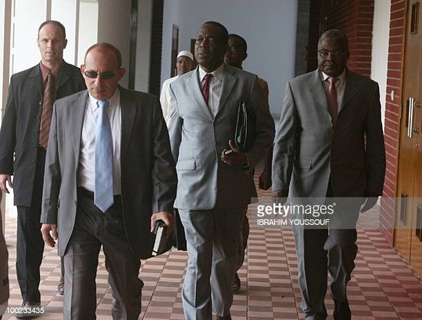 French Ambassador to the Comoros Luc Halad African Union special envoy Fransisco Madera and the Francophony special envoy Ntole Kazadi arrive on May...