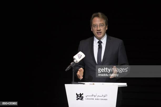 French Ambassador to the United Arab Emirates Ludovic Pouille makes a speech during the press preview of the 'From One Louvre to Another' exhibition...