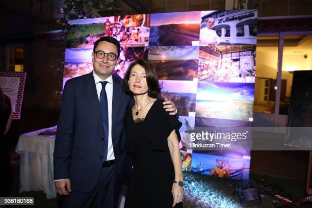 French ambassdor Alexandre Ziegler with wife Veronique during fourth edition of the global event Gout de France at French embassy Chanakyapuri on...