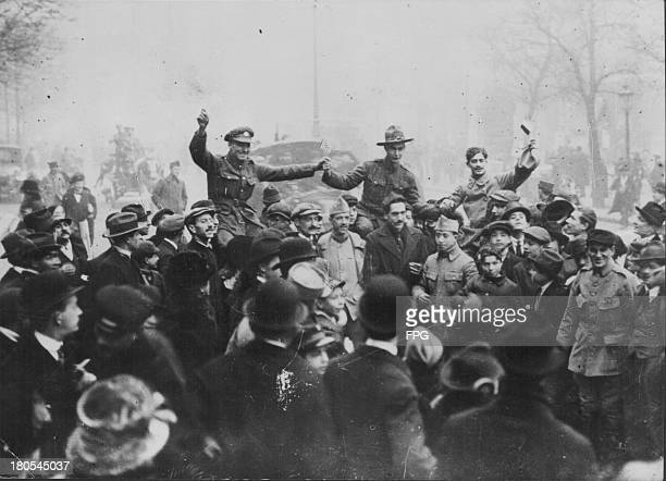 French American and British troops celebrating Armistice Day in France November 11th 1918