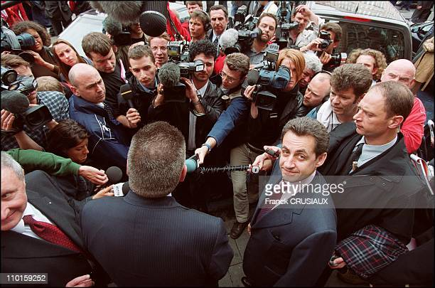 French and Belgian interior ministers Nicolas Sarkozy and Antoine Duquesne visit French Belgian border police unit in Mouscron Belgium and Lille...