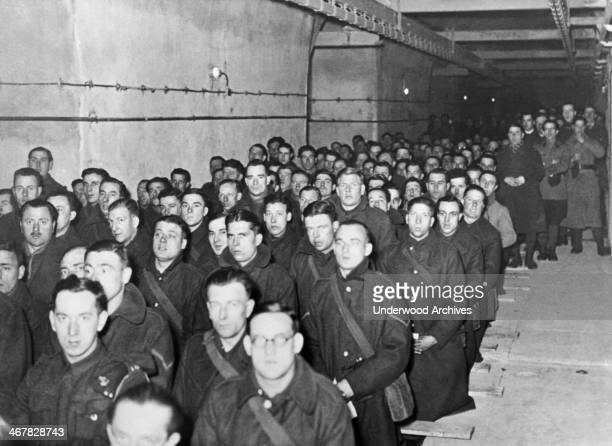 French and British soldiers assigned to duty in the Maginot Line attend Holy Mass France March 27 1940