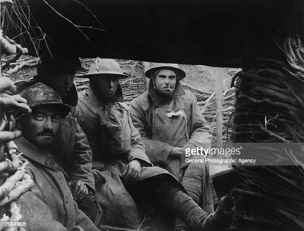 French and British troops in a trench on the Western Front during World War I.