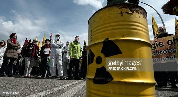 French and German antinuclear activists take part in the commemoration of the nuclear disaster in Chernobyl and to protest against the nuclear...