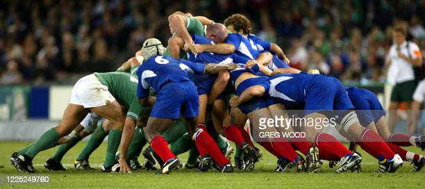 French and Irish packs fight during the Rugby World Cup quarter-final match between France and Ireland at Telstra Dome Stadium in Melbourne, 09...