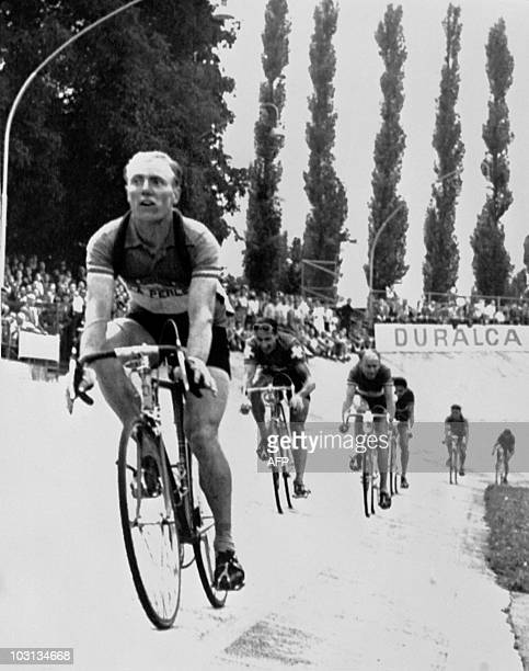 French Andre Darrigade crosses the finish line in Zurich and wins the 6th stage of the Tour de France 1955 between ColmarZurich on July 12 1955 in...