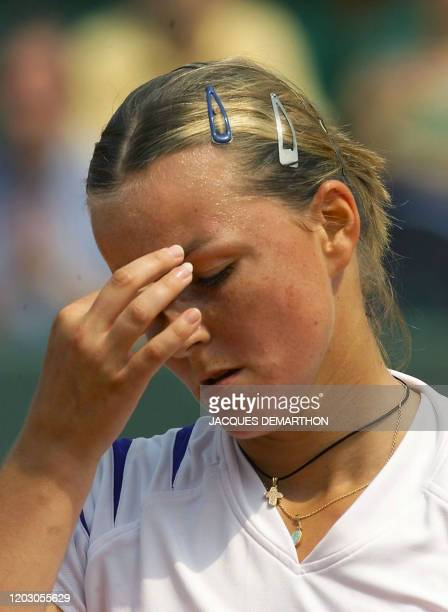 French AnneGaelle Sidot during her third round match vs Spanish Marta Marrero 03 June 2000 at the French Open in Roland Garros in Paris Marrero won...