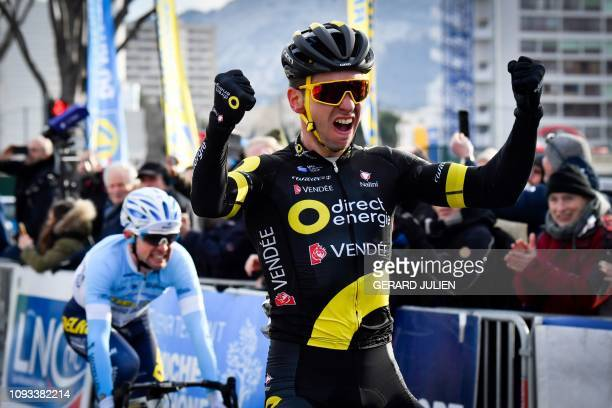 French Anthony Turgis celebrates as he crosses the finish line to win the 41th 'Grand Prix de la Marseillaise' cycling race in front of Romain...