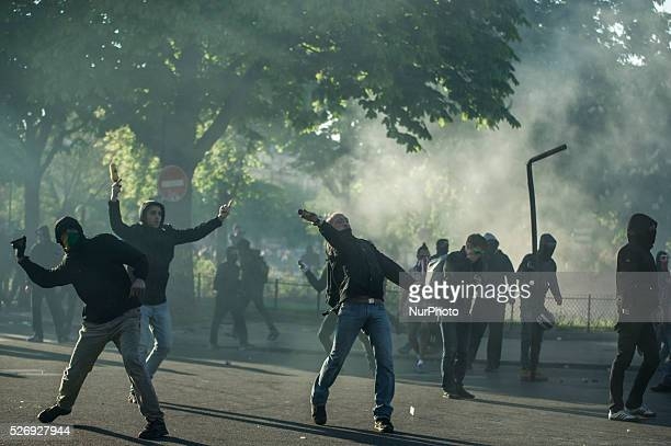 French anti riot police clash with protesters during the traditional May Day demonstration in Nationa Square in Paris on May 1 2016