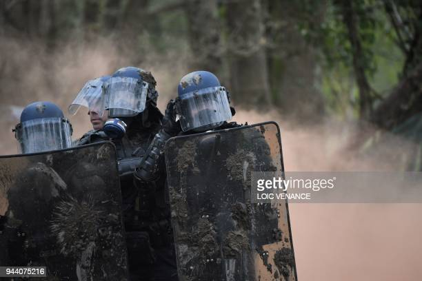 French anti-riot gendarmes take part in an operation to clear an area known as ZAD of environmental protesters occupying the site of what had been a...