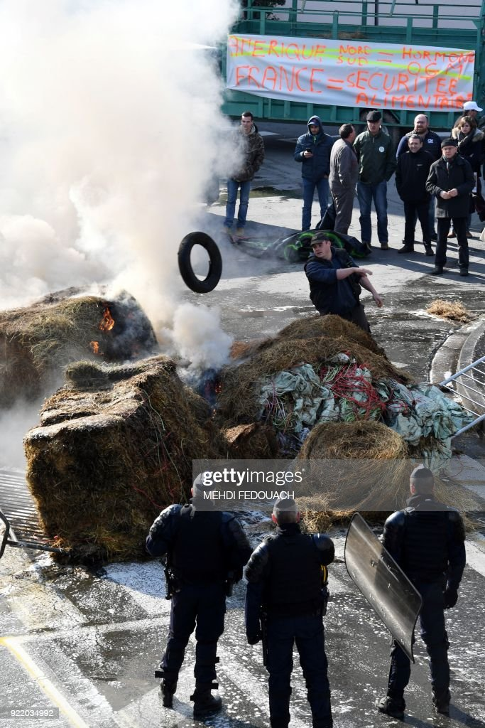 French anti-riot policemen stand guard as French farmers set fire on bundles' hay and tyres blocking a traffic circle during a rally, in Bordeaux, on February 21, 2018 to protest against the negotiations between the Mercosur and the European Union on the new map of disadvantaged areas. /