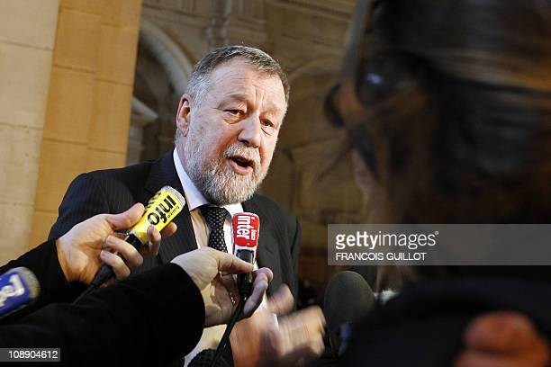 French anti-terror judge Gilbert Thiel speaks with the press on February 8, 2011 after a meeting with magistrates at the Paris Hall of Justice, to...