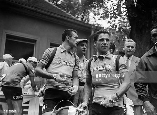 French Antonin Rolland and Roger Hassenforder pose during the 6th stage of the Tour de France 1955 between ColmarZurich on July 12 1955