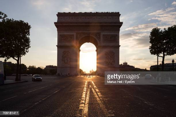 French Arc De Triomphe At Sunset
