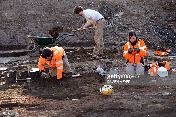 French archaelogists of Inrap dig a 8000 SQM area on the site of a former convent on February 11 2013 in the city center of Rennes western France The...