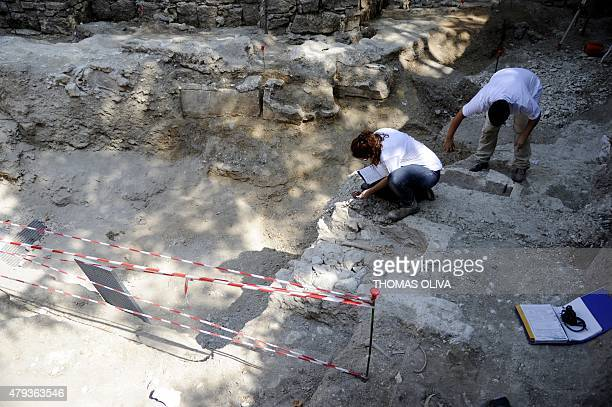 French archaeologist working on behalf of the archaeological department of the city of Paris Elise Allaoua and Anthropological archaeologist Sabrina...
