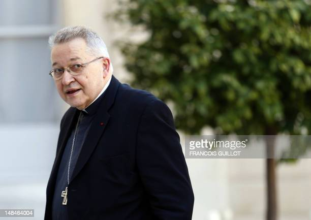 French Archbishop of Paris and President of the French Episcopal Conference Andre VingtTrois arrives at the Elysee presidential Palace before a...