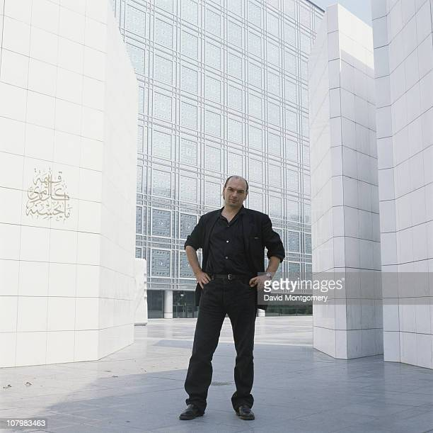 French architect Jean Nouvel outside the Institut du Monde Arabe or Arab World Institute in Paris May 1989
