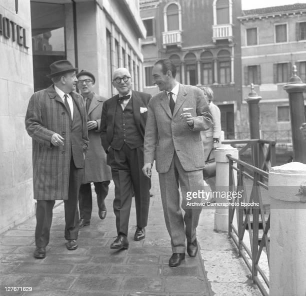French architect Le Corbusier with Giuseppe Mazzariol Venice 1965