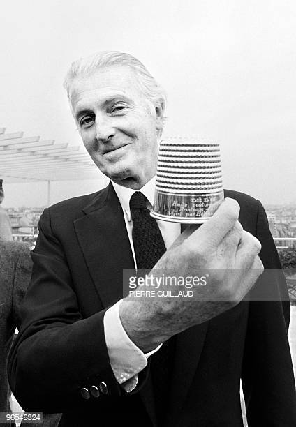 French aristocrat and fashion designer Hubert de Givenchy poses with the golden thimble of the French Fashion on January 28 1982 in Paris Reserved to...