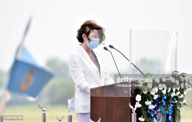 French Armed Forces Minister Florence Parly address the gathering during the induction ceremony of Rafale aircrafts, at Indian Air Force Airbase on...