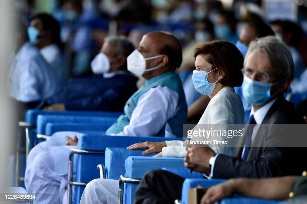 French Armed Forces Minister Florence Parly attends the induction ceremony of Rafale aircrafts, at Indian Air Force Airbase on September 10, 2020 in...