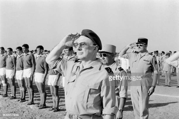 French Army Chief of Staff General Charles Ailleret attends the rugby Champions cup in Djibouti on March 5 1968 / AFP PHOTO / DESPREZ /