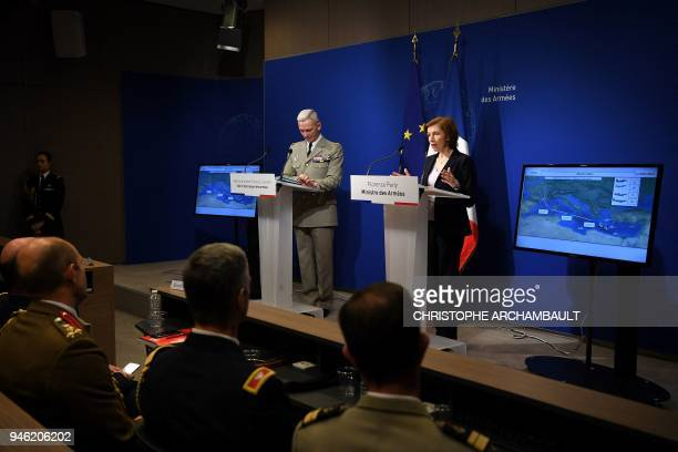 TOPSHOT French Army Chief of Staff General Francois Lecointre and French Defence Minister Florence Parly hold a joint press conference at the...
