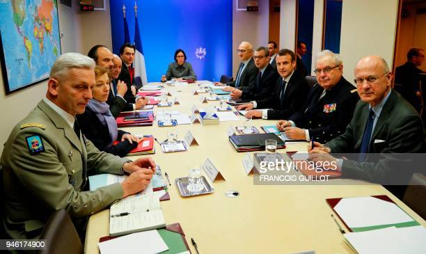 TOPSHOT French Army Chief of Staff General Francois Lecointre French Defence Minister Florence Parly French Prime Minister Edouard Philippe French...