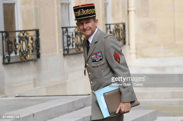 French Army chief of staff General Pierre de Villiers arrived for a meeting at the Elysee Presidential Palace on July 13 2017 in Paris France Macron...