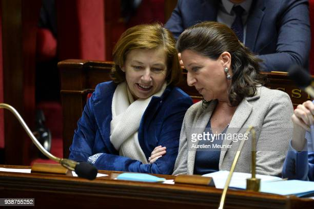 French Army Minister Florence Parly and French Health and Solidarity Minister Agnes Buzyn react as Ministers answer deputies during the weekly...