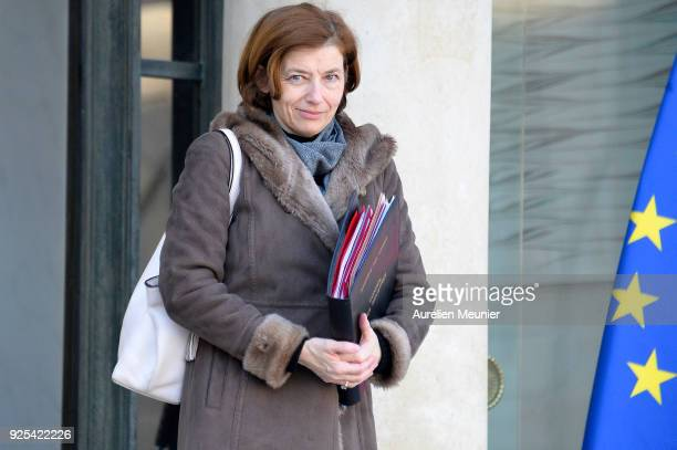 French Army Minister Florence Parly leaves the Elysee Palace after the weekly cabinet meeting on February 28 2018 in Paris France